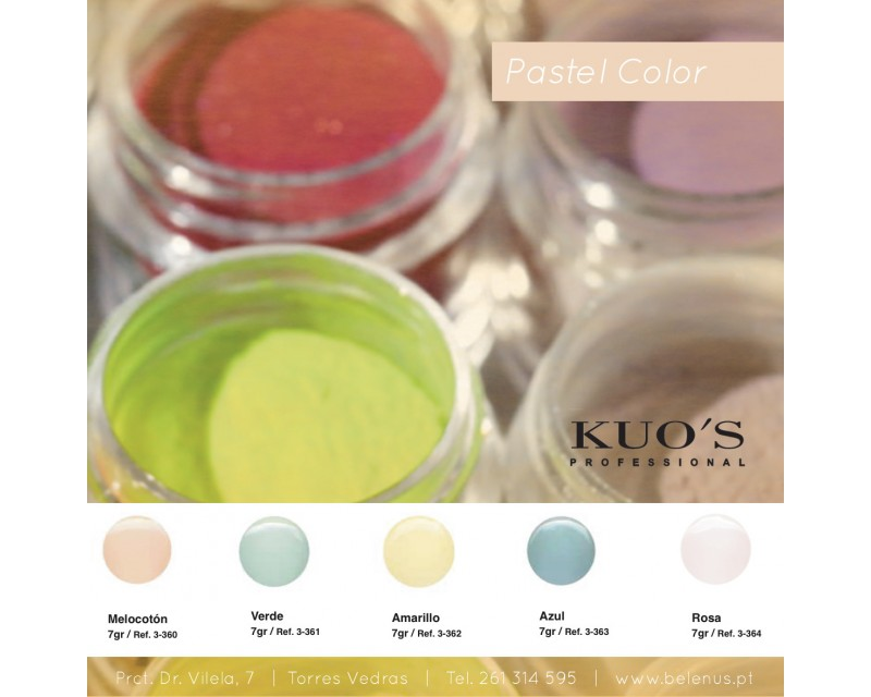 Pó Acrílico de Construção - Pastel Color 7g Kuo`s